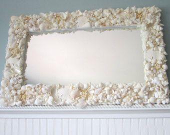Beach Decor White Seashell Mirror - Nautical Shell Mirror,  White Rectangular w StarfishSeashells Mirrors, Decor White, Beach Mirrors, White Rectangular, Nautical Shells, Mirrors Nautical, Beach Decor, Beachgrasscottag, White Seashells