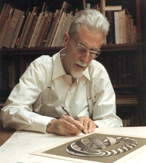 "MC Escher, a Dutch graphic artist, widely known for his often mathematically inspired woodcuts, lithographs and mezzotints. YouTube has several ""M.C. Escher"" documentaries, including: httpv://www.youtube.com/watch?v=1d5blV9RDgM"