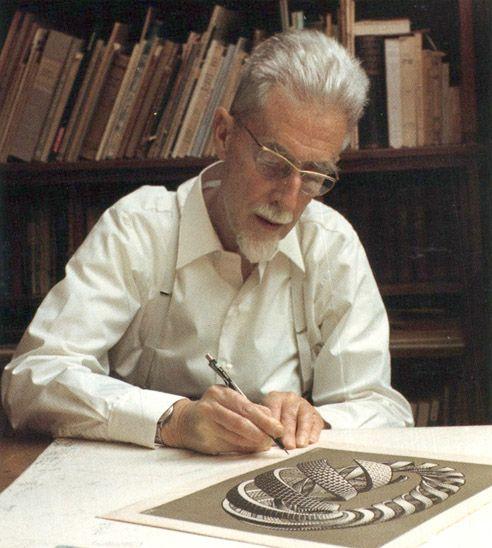 M.C. Escher, fue un artista holandés conocido por sus grabados xilográficos y litográficos que tratan sobre figuras imposibles, teselados y mundos imaginarios.