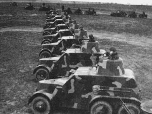 Tatra OA vz.30 armored car was a prewar Czech design. It was built on a 6x4 truck chassis, and mounted machine guns as armament. When Germany invaded in 1938, there 51 in existence: 24 were seized by the Germans, 18 by the Slovaks when they declared independence, and 9 were interned in Romania. They saw service in the invasion of Poland, early stages of Operation Barbarossa, and the Slovak National Uprising