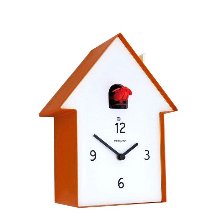 A very funky and original orange version of the cuckoo clock by Diamantini & Domeniconi made from contemporary materials with bold colours.  This versatile clock makes a great focal point on a wall or can also be used free standing as a mantel clock or on a sideboard.