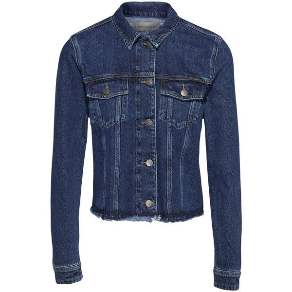 Calvin Klein Denim Jacket, Stoney Blue (6.745 RUB) via Polyvore featuring outerwear, jackets, calvin klein jacket, blue jean jacket, long sleeve jean jacket, short jacket и short cropped jacket