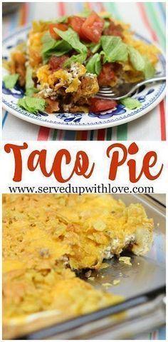 Taco Pie recipe from Served Up With Love. A family favorite taco inspired dish that will have the family running to the table. #taco #casserole