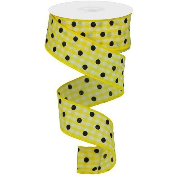 1 5 Polka Dot Gingham Check Ribbon Yellow 10 Yard Gingham Check Wreath Supplies Plaid Ribbon
