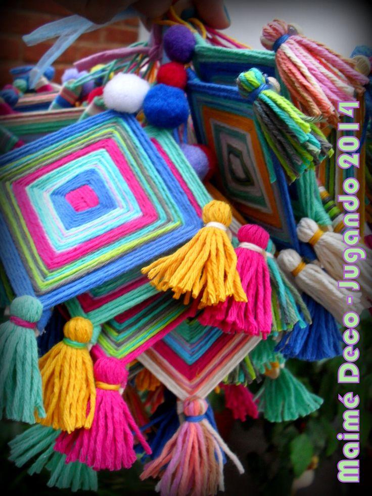 """Maimé Deco Souvenirs """"Ojos de Dios"""" realizados con Palitos de Helado e Hilo de Algodón!"""
