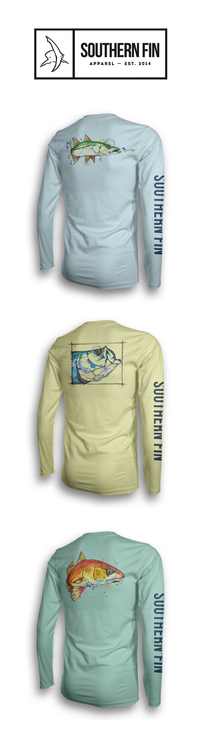 New Inshore series of fishing apparel from Southern Fin. UPF 50+ protection and original artwork.