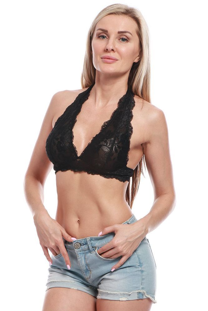 736bce0733 BellisMira Women s Scalloped Lace Halter Bralette With Adjustable Bra Clasp   fashion  clothing  shoes  accessories  womensclothing  intimatessleep  (ebay ...