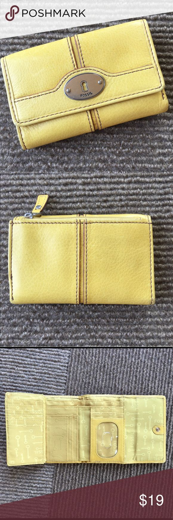 Fossil Yellow Leather Wallet Fossil leather wallet. Pretty yellow. Like new. Unfolds to store a lot of things! Fossil Bags Wallets