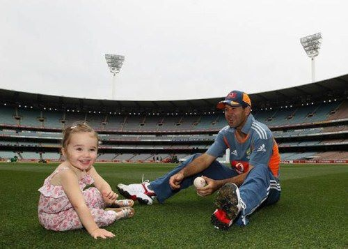 Ricky Ponting with his Daughter