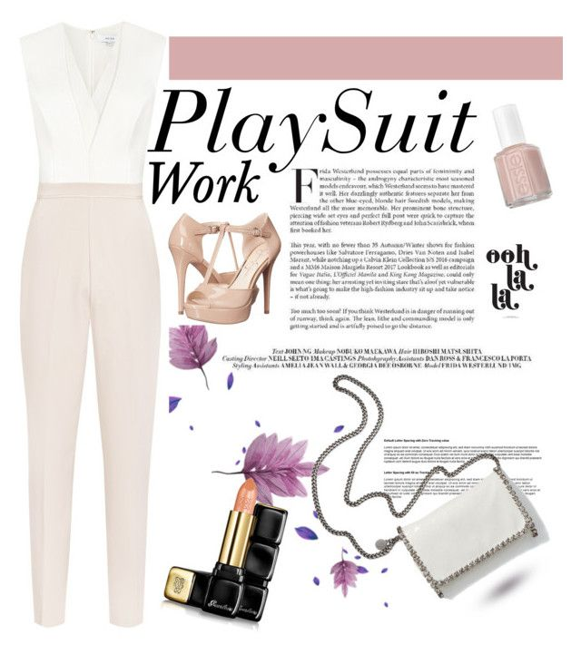 """Work-Playsuit"" by xonfident ❤ liked on Polyvore featuring Reiss, Jessica Simpson, STELLA McCARTNEY, Essie and Guerlain"