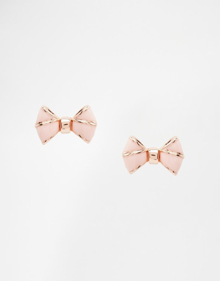 Image 1 of Ted Baker Ediee Pink Enamel Baby Bow Stud Earrings