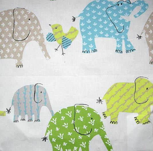 Elephant and castle cotton fabric childrens fabric with for Childrens elephant fabric