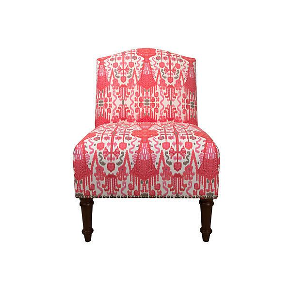 clark nailtrim slipper chair red ikat accent u0026 occasional chairs 355