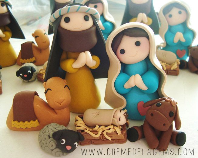Nativity made from polymer clay