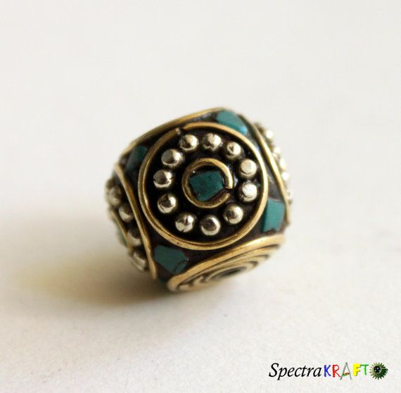Handmade Tibetan Beads with Turquoise and by Spectrakraft on Etsy, $3.50