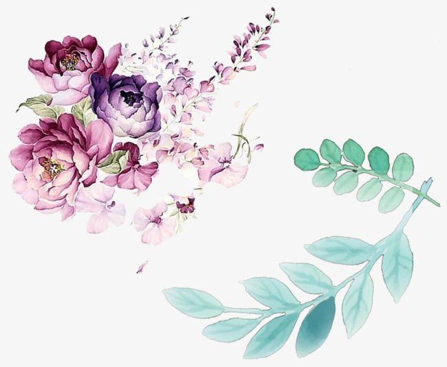 أوراق زهرة مائية مزينة زخرفة زهرة مائية زخرفة ورقة مائية رسمت باليد الزهور Png وملف Psd للتحميل مجانا Watercolor Flowers Floral Watercolor Flower Painting