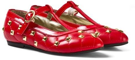 Step2wo Red Roma Quilted Stud Mary Janes
