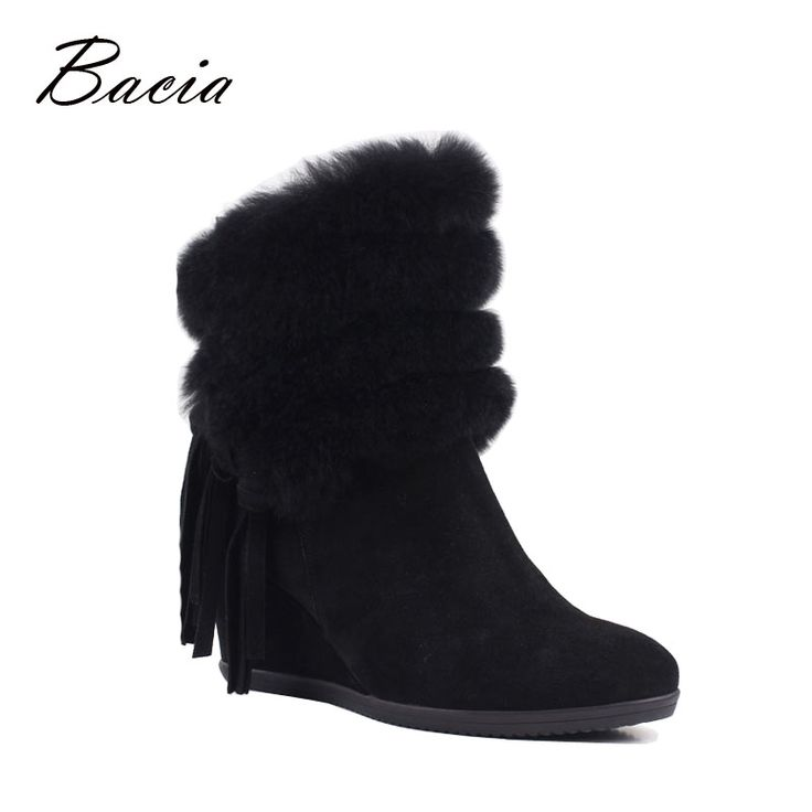 Bacia Fashion Edging Wool Fur Boots Black Tassel Shoes For Winter High Heel Wedges Euro 35-40 Shoes Solid Leather Boots VF005