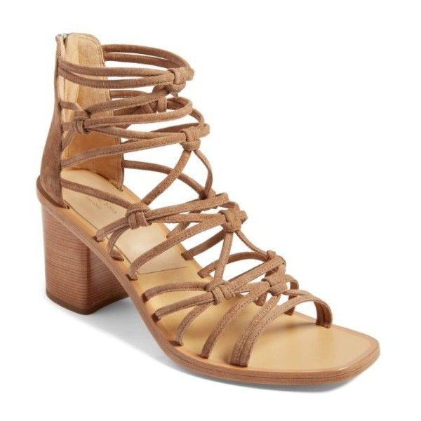 Women's Rag & Bone Camille Knotted Strappy Sandal ($495) ❤ liked on Polyvore featuring shoes, sandals, camel suede, rag bone shoes, strap sandals, strappy shoes, strappy sandals and caged shoes