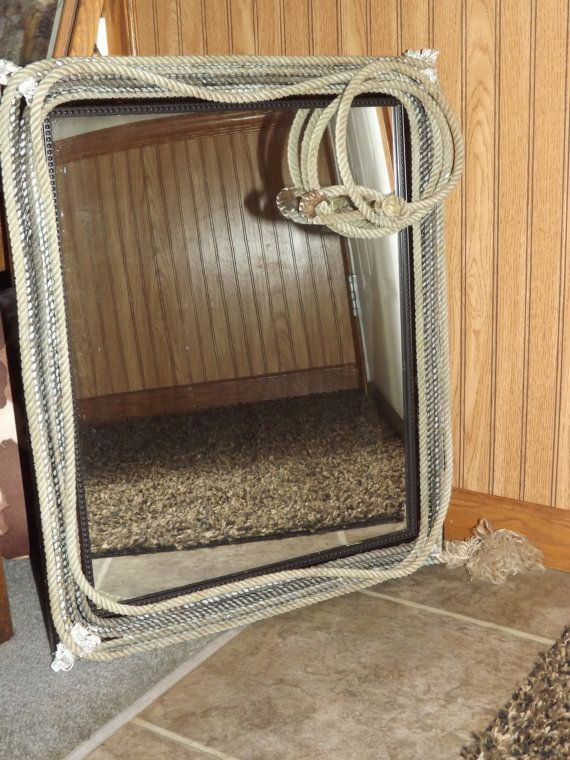 Western Decor Rope Mirror by sparkleandspur on Etsy   85 00. 17 Best images about Rustic Bathrooms on Pinterest   Cowgirl quote