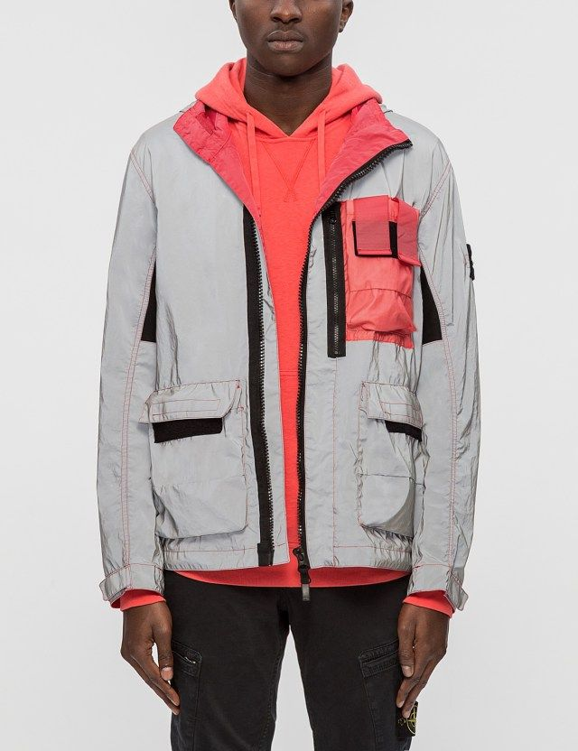 STONE ISLAND Garment Dyed Plated Reflective Jacket