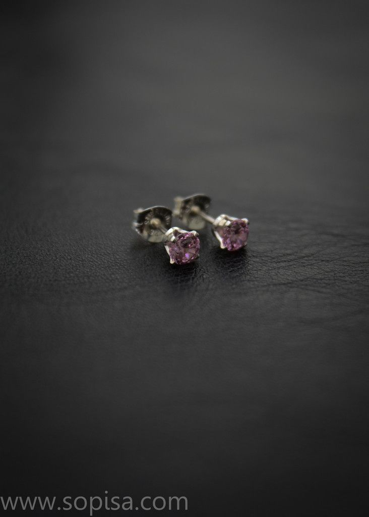 Tiffany earrings - Sterling silver with pink crystals.