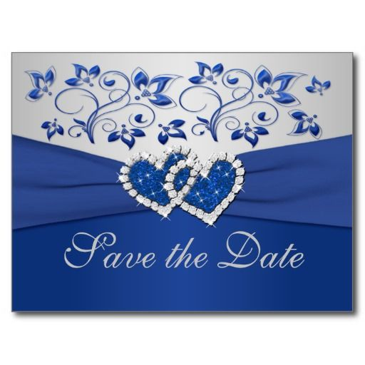 Royal Blue and Silver Save the Date Card Postcards
