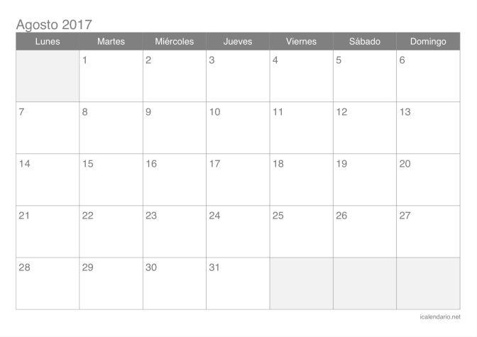 Calendario de agosto 2017