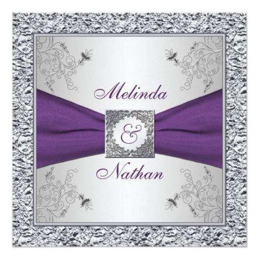 The 25 best purple silver wedding ideas on pinterest purple printed ribbon purple silver wedding invitation ii junglespirit Images