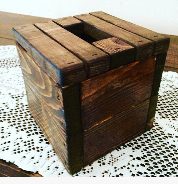 Rustic Pallet Wood Tissue Box Cover Tissue Box by CraftyRyans