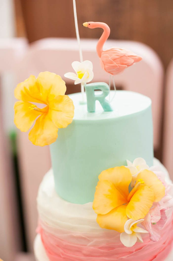 Tropical Flamingo themed birthday party via Kara's Party Ideas KarasPartyIdeas.com The Place For All Things Party! #flamingoparty #pinkflamingo #tropicalparty #flamingobirthdayparty (14)