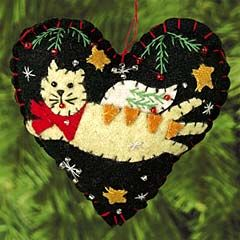 256 best images about felt ornaments for christmas on for Cat christmas ornaments craft