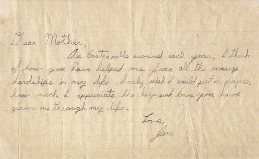 A delightfully sweet note from Jim Morrison, aged 10, to his mom