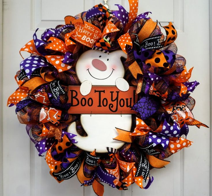 Boo Wreath, Ghost Wreath, Halloween Wreath, Halloween Door Hanger, Ghost Door Hanger, Halloween Door Decor, Ghost Door Decor, Boo Door Decor by Texascaseyscreations on Etsy
