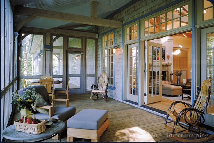 love how the screen porch is wide open to the house
