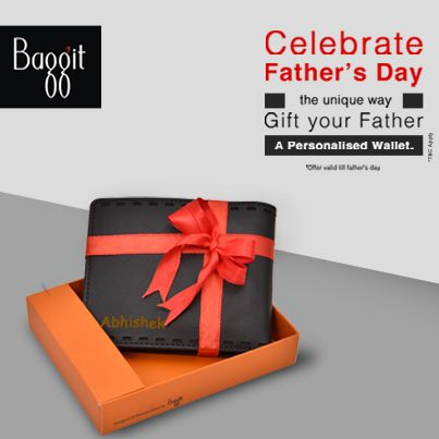 Gift him a personalized wallet with his name on it and make his day truly special. Pick his style and color from a limited range of men's wallets to get your Father's name embossed on it. Offer valid 5-15 June 14.  Avail it now at: http://goo.gl/VqF6Vu