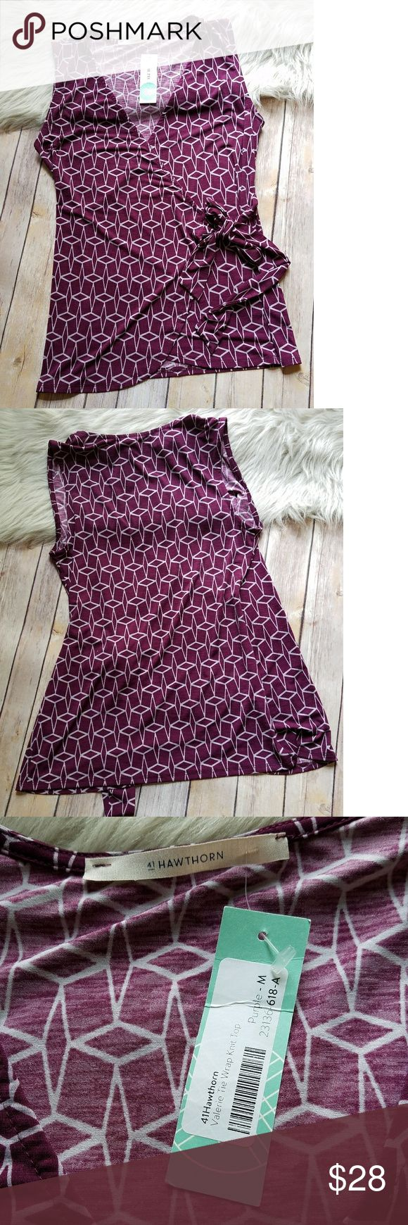 NWT 41 Hawthorn Stitchfix purple wrap top Medium Hawthorn for Stitchfix purple wrap top. Ties on the side. All over diamond pattern. Brand new with tags. 95% polyester, 5% spandex. Hand wash. Hawthorn Tops Blouses