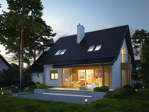 To dom zaprojektowany dla rodziny, która chce mieszkać przytulnie, wygodnie i w harmonii z naturą. Zgrabna forma budynku, ubrana w atrakcyjną elewację, prezentuje się stylowo i nowocześnie.