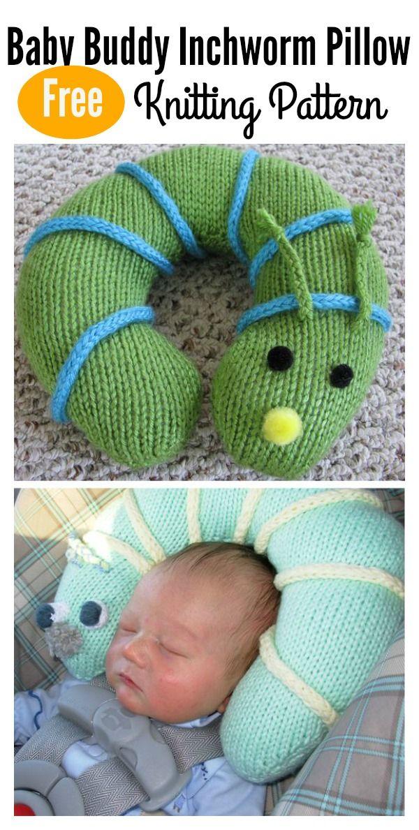 Easy Baby Buddy Inchworm Pillow Free Knitting Pattern