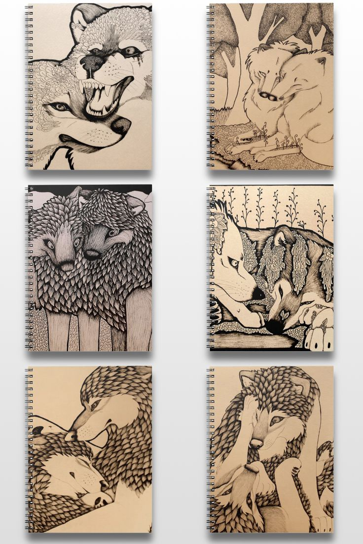Illustrated Black And White Wolf Notebooks #art #illustration #drawing #Sepia