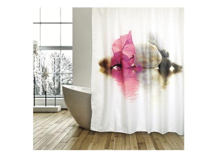 #cortina de #baño #flores https://www.catayhome.es/categoria/cortinas-de-bano/