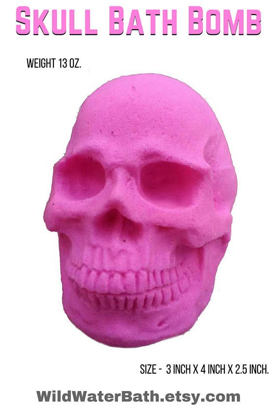Skull Bath Bomb Large Bath Bomb Halloween Gift Pink Skull  I love skulls and bath bombs! Do you? Is pink your favorite color? Then you NEED this fun and unique skull bath fizzy.   This is a large bath bomb. Our skull bath bomb size is approximately 3 inch x 4 inch x 2.5 inch. Weight is 13 oz.
