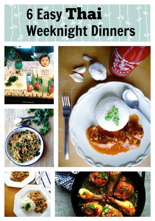 6 Easy Weeknight Thai Recipes: All my favorite Thai weeknight recipes in one post! Thai Crockpot Chicken Curry, Spaghetti and Kale Pad See Ew, Sriracha Chicken, Thai-Style Honey Lime Chicken, Thai-Style Omelette and Stir-Fry Mama Noodles! All easy to make even with your baby on the counter! | thai-foodie.com