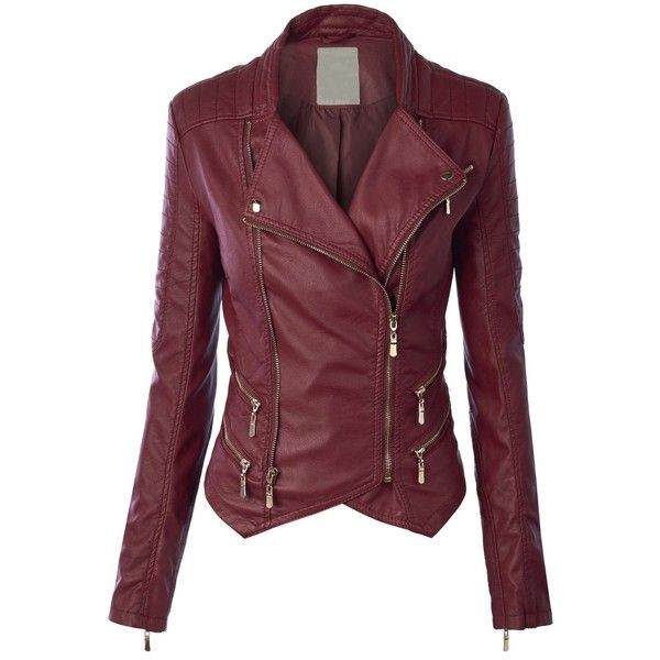 MBJ Womens Faux Leather Zip Up Biker Jacket with Stitching Detail ($40) ❤ liked on Polyvore featuring outerwear, jackets, zip up jacket, motorcycle jacket, red moto jacket, vegan leather jacket and faux leather motorcycle jacket