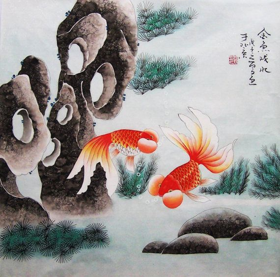 Items similar to original painting chinese traditional art lovely cranes withcherry blossom on Etsy