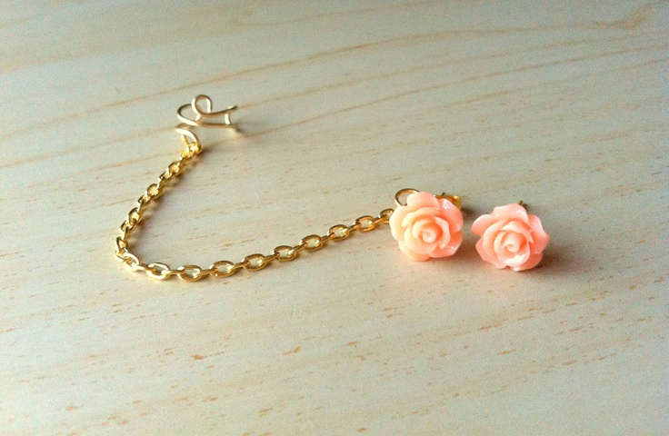 Peach resin mini rose bud ear stud with gold ear cuff chain earring 10mm. $8.00, via Etsy.