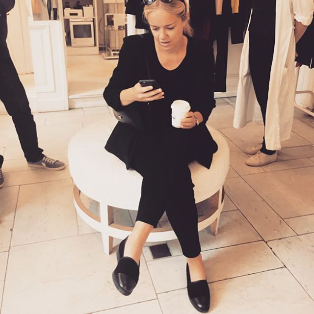 "Swedish tv personality and journalist Ebba von Sydow looking great in her all black outfit and Blankens shoes ""The Rio""."