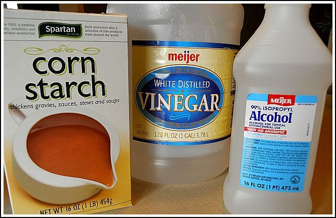 WINDOW CLEANER, 1 cup water, 2 T. vinegar, 2 T. 99% rubbing alcohol, 1-1/2 t. cornstarch.  Mix all ingredients into spray bottle, shake, spray, wipe with cloth or paper towel.  (Shake bottle every time before spraying - cornstarch settles at bottom).