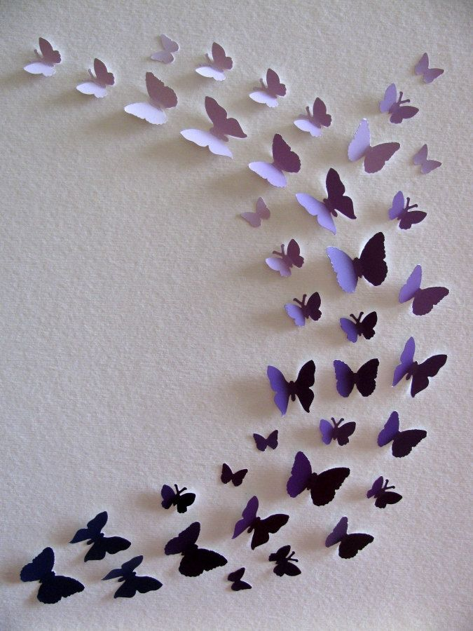 Purple Paint Chips Recycled 3D Butterfly by aboundingtreasures  So cute for a little girl's room... I'd do this to my own room or a hallway