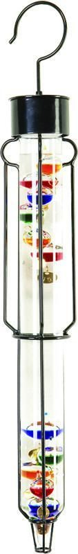 25 Inch Outdoor Liquid Galileo Thermometer with Ten Multi-Color Floats and Gold Tags